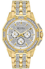 Bulova Men's Goldtone Crystal Watch