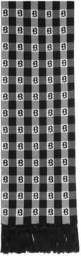 Brioni Black and White Gothic Check Scarf
