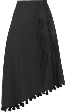 Altuzarra Basilica Asymmetric Tasseled Wool And Mohair-blend Skirt - Black