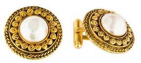 Chanel Faux Pearl Medallion Cufflinks