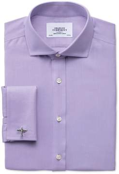Charles Tyrwhitt Extra Slim Fit Spread Collar Non-Iron Twill Lilac Cotton Dress Shirt French Cuff Size 14.5/32