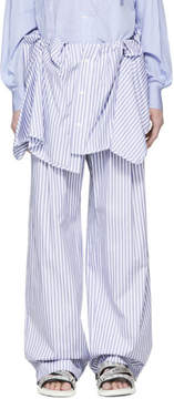 Juun.J Blue and White Striped Oversized Trousers