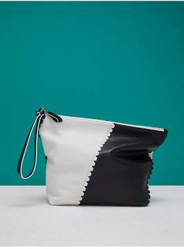 Diane von Furstenberg | Scalloped Origami Wristlet | Ivory/ black