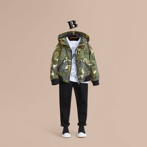 Burberry Beasts Print Hooded Bomber Jacket