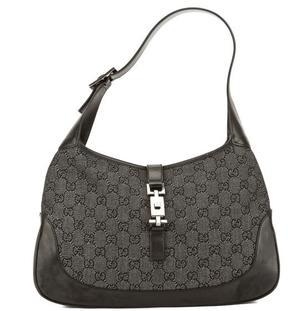 Gucci Black Leather GG Jacquard Canvas Jackie Bag - BLACK - STYLE