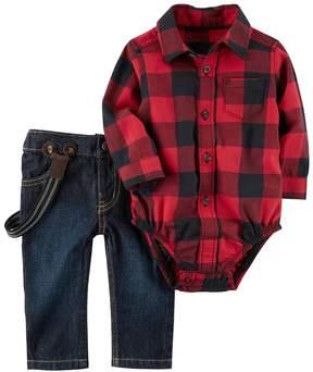 Carter's Baby Boy Buffalo Checkered Bodysuit & Suspender Jeans Set