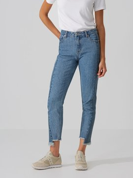 Frank and Oak The Stevie High-Waisted Raw Edge Jean in Contrast Indigo