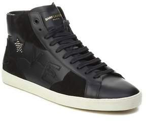 Saint Laurent Men's Leather Love High-top Sneaker Shoes Black.