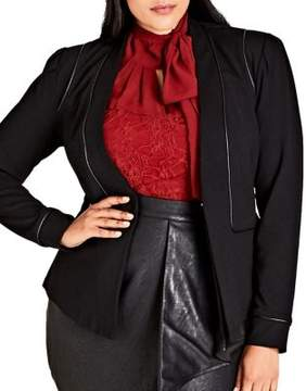 City Chic Plus Piped Open-Front Jacket