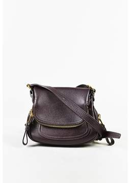 Tom Ford Pre-owned Purple Grained Leather mini Jennifer Crossbody Bag.