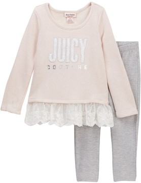 Juicy Couture Sparkle French Terry Lace Bottom Tunic & Animal Print Leggings Set (Toddler Girls)
