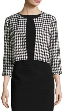 Eliza J Houndstooth Cropped Jacket, Black/White