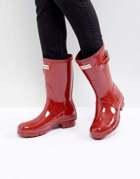 Hunter Short Gloss Military Red Ankle Boots