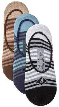 Sperry Tonal Tri-Stripe Cushioned No Show Liners - Pack of 3