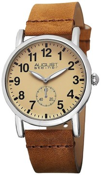August Steiner Champagne Dial Brown Leather Ladies Watch