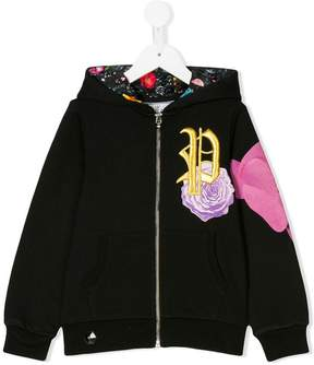 Philipp Plein Junior logo embroidery zipped hoodie