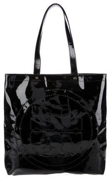Tory Burch Perforated Logo Tote - BLACK - STYLE