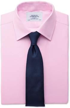 Charles Tyrwhitt Slim Fit Small Herringbone Pink Cotton Dress Shirt Single Cuff Size 14.5/33