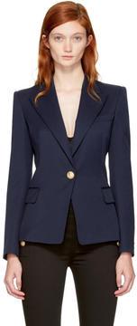 Balmain Navy Classic Single-Button Blazer