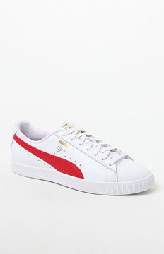 Puma Clyde Core Foil White & Red Shoes