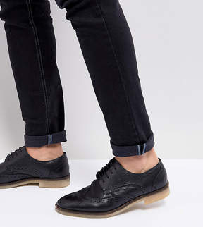 Asos Wide Fit Casual Brogue Shoes In Black Leather With Natural Sole