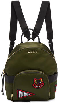 Miu Miu Green Patches Mini Backpack