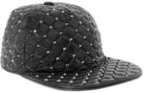 Valentino Rockstud Quilted Glossed Textured-leather Baseball Cap - Black