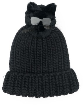 Eugenia Kim Women's Rain Wool Stocking Cap With Genuine Fox Fur Pom - Black