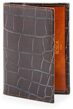 Bosca Men's Embossed Leather Card Case - Brown