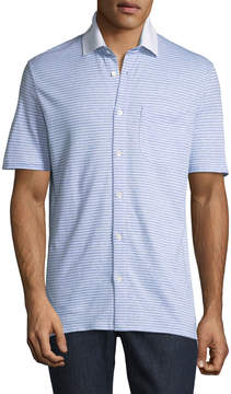 Luciano Barbera Striped Button-Front Polo Shirt