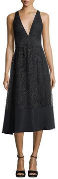 David Koma V-Neck Macrame Tea-Length Dress