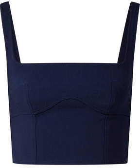 Dion Lee Cropped Stretch Wool-blend Bustier Top - Storm blue