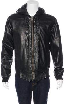 Public School Hooded Leather Jacket
