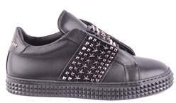 Philipp Plein Women's Black Leather Sneakers.