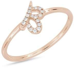 Bony Levy 18K Rose Gold Diamond Detail Cutout Ring - 0.06 ctw