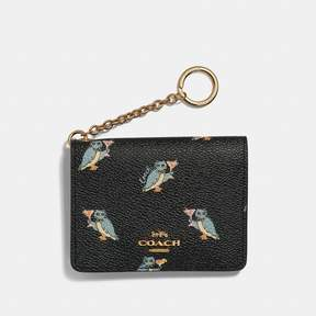 Coach Key Ring Card Case With Party Owl Print
