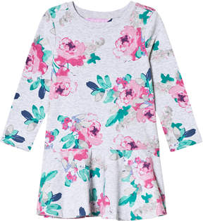 Joules Grey Marl Rose Print Jersey Trapeze Skirt Dress