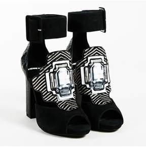 Pierre Hardy Black Multicolor Suede & Snakeskin mega Gem Sandals.