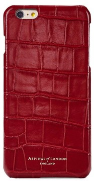 Aspinal of London Iphone 7 Leather Cover In Deep Shine Red Croc With Cream Suede