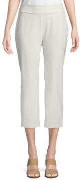Eileen Fisher Washable-Crepe Fold-Over Cropped Pants