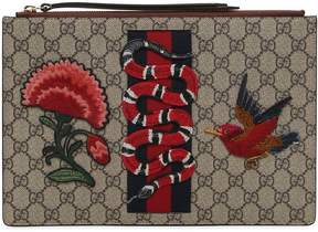 Gucci Gg Supreme Snake Patch Clutch - TAUPE - STYLE