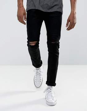 Brave Soul Black Skinny Ripped Jeans