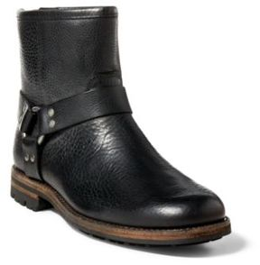 Ralph Lauren Melvin Tumbled Leather Boot Black 10