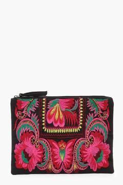 boohoo Floral Embroidery Clutch