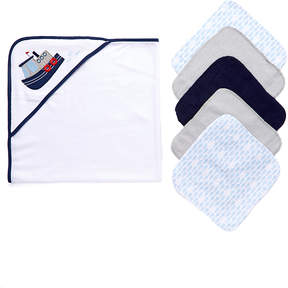 Luvable Friends Tugboat Fleece Hooded Towel & Washcloth Set
