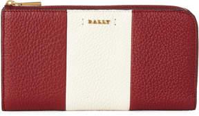 Bally Red Logo Stripe Leather Zip-Around Wallet