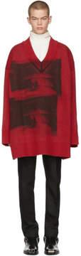 Calvin Klein Red and Black Oversized V-Neck Sweater