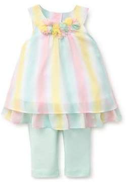 Little Me Baby Girl's Two-Piece Striped Tunic and Dotted Leggings