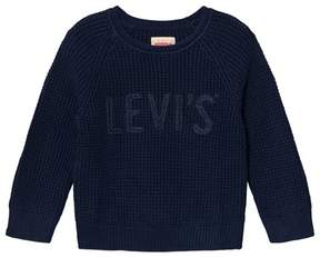 Levi's Navy Waffle Knit Branded Jumper