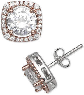 Giani Bernini Cubic Zirconia Two-Tone Halo Stud Earrings in Sterling Silver & 18k Rose Gold-Plate, Created for Macy's